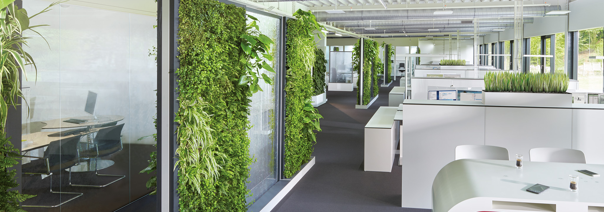 Optimale Flächengliederung durch bepflanzte Trennwände, Schränke, Regale und Sideboards