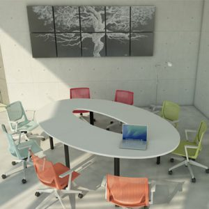 Modulare Konferenzmöbel von Haworth lassen sich mit wenigen Handgriffen auf- und abbauen
